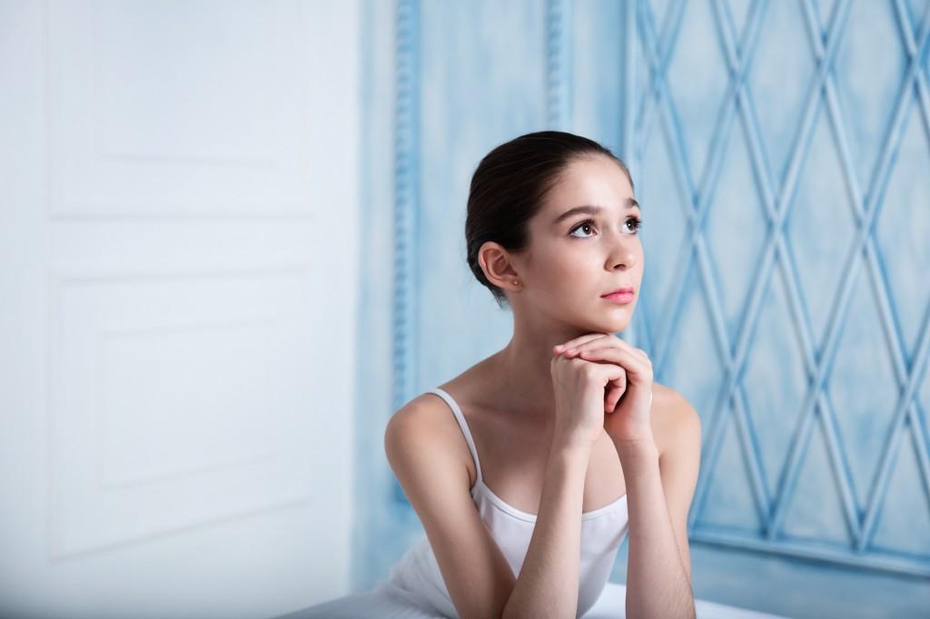 Teenage ballerina in the studio